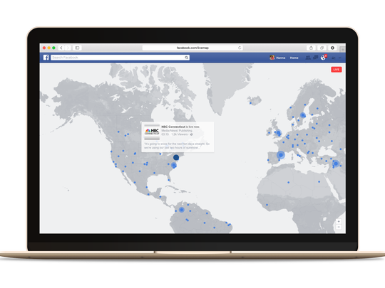 A live map shows Facebook Live broadcasts happening