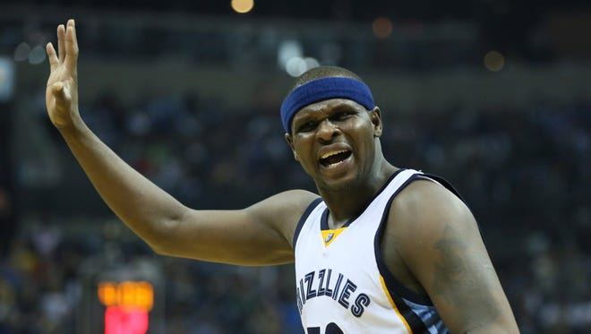 Memphis Grizzlies forward Zach Randolph reacts to a call against the Golden State Warriors on Saturday, April 9, 2016.