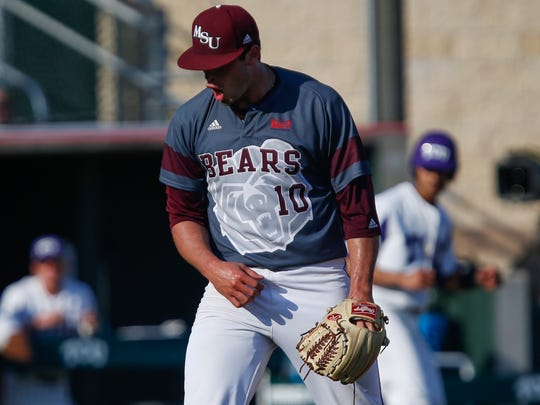 Dylan Coleman reacts after getting out of a jam during