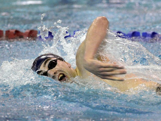 Spencerport's Nolan Benson wins the 200 yard freestyle with a time of 1:46.02 during the Section V Class B Swimming Championships at the Webster Aquatic Center on Friday, Feb. 17, 2017.