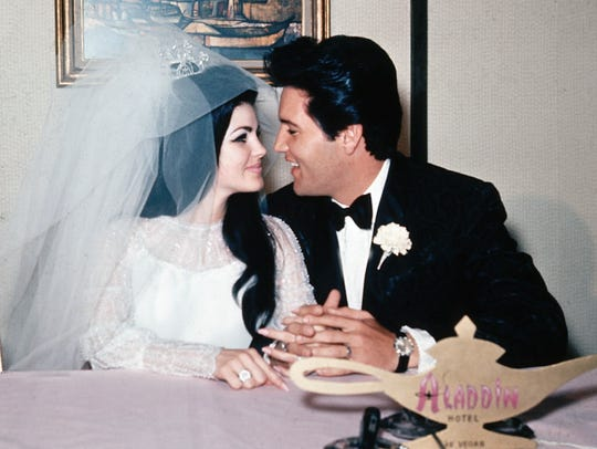 Elvis and Priscilla on their wedding day in Las Vegas