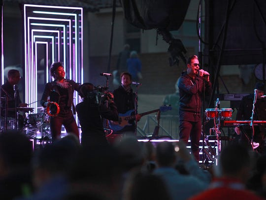Fitz and the Tantrums play at PGA West during the CareerBuilder Challenge in La Quinta, January 21, 2016.