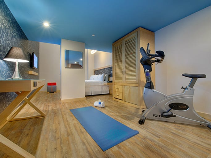 TRYP by Wyndham: Get your fitness fix in private -- in your room, no less -- so you can exercise whenever the mood strikes. Just book a signature Fitness Room (you'll have to pay slightly extra) at any one of the 100-plus TRYP locations around the world, and your room will come stocked with an exercise machine (like a stationary bike, elliptical machine or treadmill) and complimentary exercise clothing.