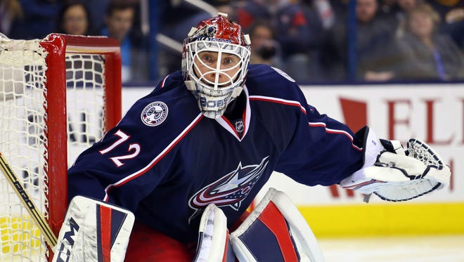 Blue Jackets goalie Sergei Bobrovsky tends net in the third period at Nationwide Arena.