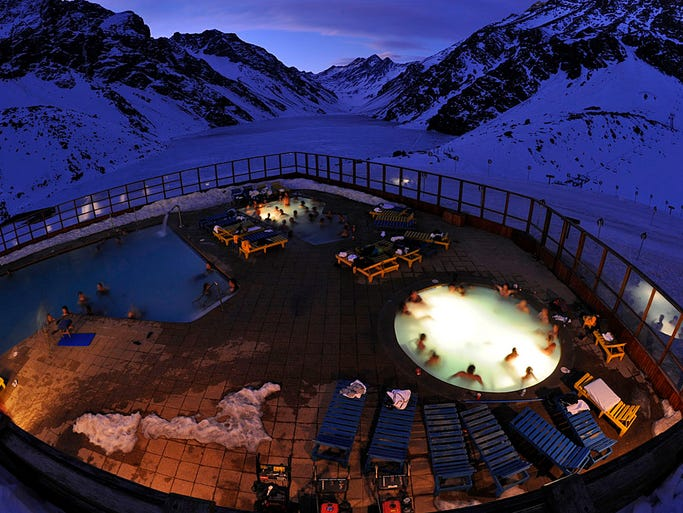 Portillo is isolated, even by Chile's standards. Not to worry — the resort gives you everything you need in the slope-side hotel. A movie theater, bar and heated outdoor pool and hot tub sit right next to the frozen Laguna del Inca.