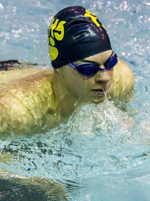 Stephen Machak of Pequannock swims the 200-yard individual medley at a NJSIAA North I-C opening-round Meet at Lakeland Hills YMCA in Mountain Lakes, February 6, 2017.