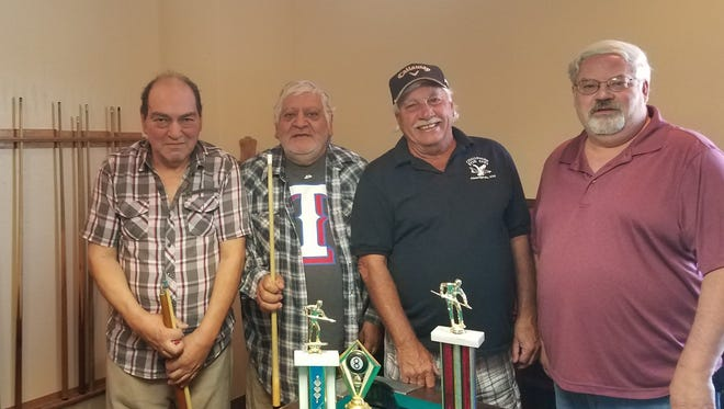 """Friendship pool winners are from left to right: First place is VFW Danny Lujan and Joe Lujan with second place Eagles Larry """"Smitty"""" Smith and Doug Beard."""