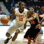 Ole Miss guard Jarvis Summers (32) drives to the basket Wednesday during the Rebels' game against Georgia in Oxford.