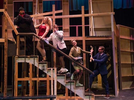 "Henry Ballesteros, Tammi Colombo, Trevor Messenger, Holly Barrick and Kade Cox star in the Neil Simon Festival's 2017 production of ""Noises Off."""