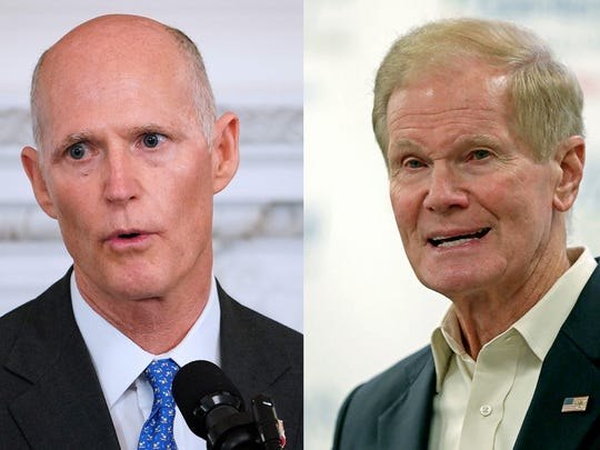 Florida GOP Gov. Rick Scott (left) is challenging Sen. Bill Nelson, D-Fla., who is running for a fourth term in November.