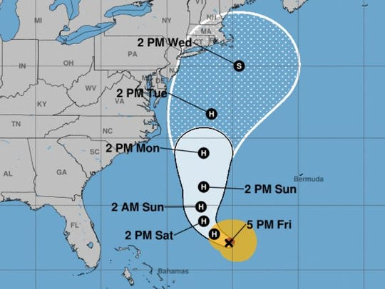 Hurricane Jose's forecast cone as of the 5 p.m. update