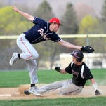 Binghamton shortstop Nate Keuter attempts to apply the tag as Elmira's Anthony Aumick slides into second with a stolen base in the eighth inning to set up the winning run in Thursday's STAC game at Ernie Davis Academy. Elmira won, 4-3 in eight innings.