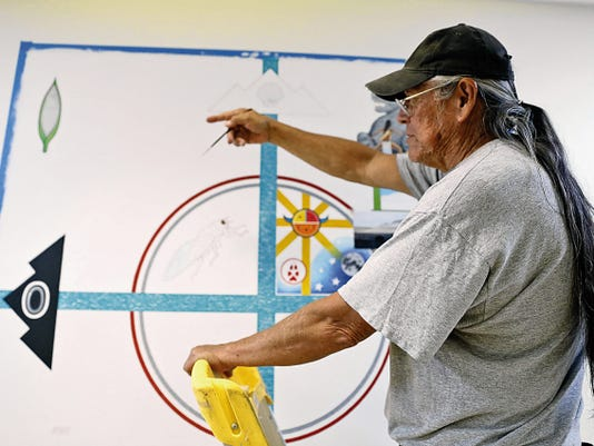 James Joe, of Shiprock, took art classes at the University of New Mexico in the 1970s and now works primarily in acrylics.