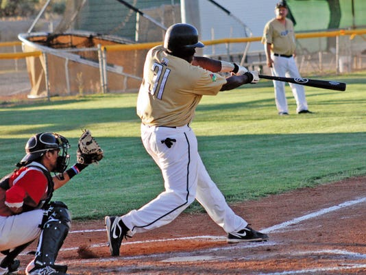 Brandon Burkes hits a two-run homer in the bottom of the third inning at the Griggs Sports Complex on Wednesday evening.