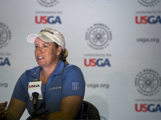 Ninth-ranked Brittany Lincicome speaks to the media Wednesday at the 2015 U.S. Women's Open at Lancaster Country Club.
