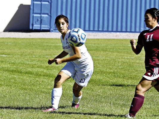 Bloomfield's Elicia Griego drills the ball downfield Thursday during a match against Rehoboth Christian at Mesa Alta Junior High School in Bloomfield.