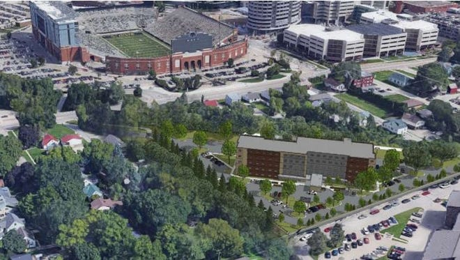 A preliminary rendering shows where the proposed five-story Courtyard by Marriott hotel would be situated in University Heights, near Kinnick Stadium and the University of Iowa Stead Family Children's Hospital.