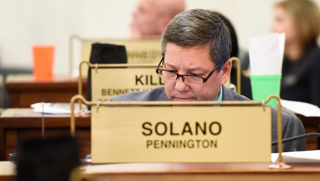 Sen. Alan Solano (R- Rapid City) sits at his desk in the senate chambers on Wednesday Jan. 10, 2018 in the capitol building in Pierre, S.D.