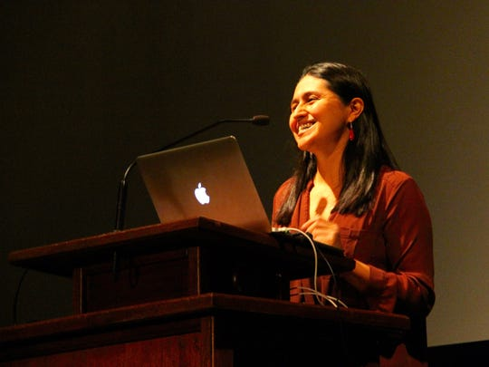Christina Ibarra discusses the Mexico border at Southern Utah University on Feb. 9, 2017.