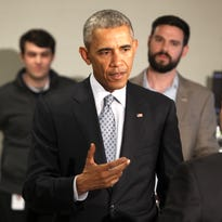President Barack Obama meets members of the workforce at Indatus during an April visit to Louisville to highlight technology-training endeavors.