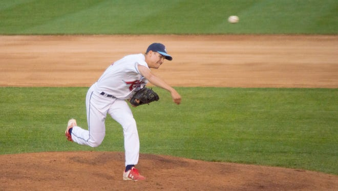 Kyle Boser delivers a pitch last summer for the St. Cloud Rox at Joe Faber Field. Boser, who is from Little Falls and is a junior on the St. Cloud State baseball team, has re-signed to play for the Rox in 2018.