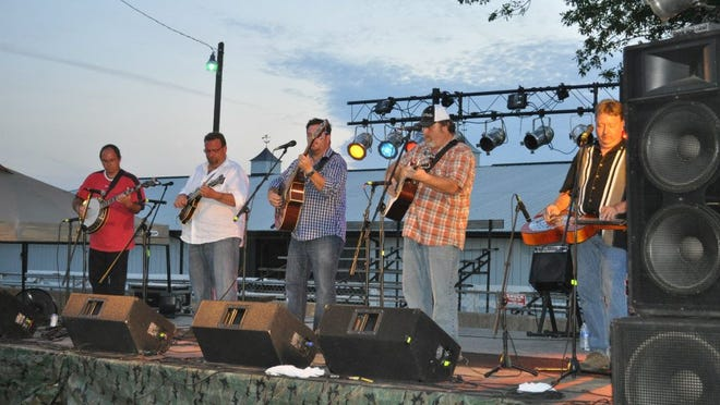 String Therapy members (from left) Todd Sams on banjo, Jim Reed on mandolin, Josh Click on bass and vocals, Dave Bond on guitar and vocals and Bob Kelley dobro and vocals.