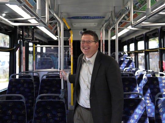 Des Moines City Manager Scott Sanders checks out the