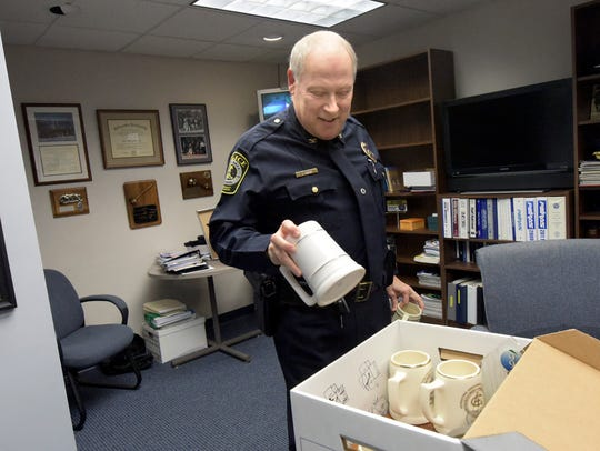 York Area Regional Police Chief Tom Gross packs personal