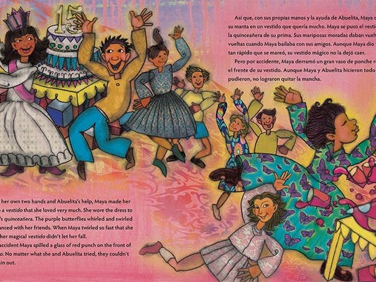 'La manta de Maya — Maya's Blanket' by Monica Brown can be read by English and Spanish speakers. With both interpretations in one book, it's also good for those learning one of the languages.