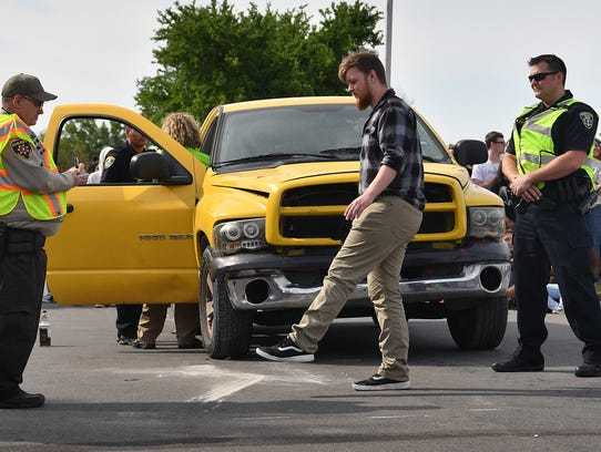A Rider High School student takes a field sobriety