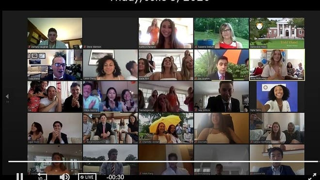 Milton Academy graduating seniors gathered via Zoom for a virtual graduation ceremony on June 5, 2020.