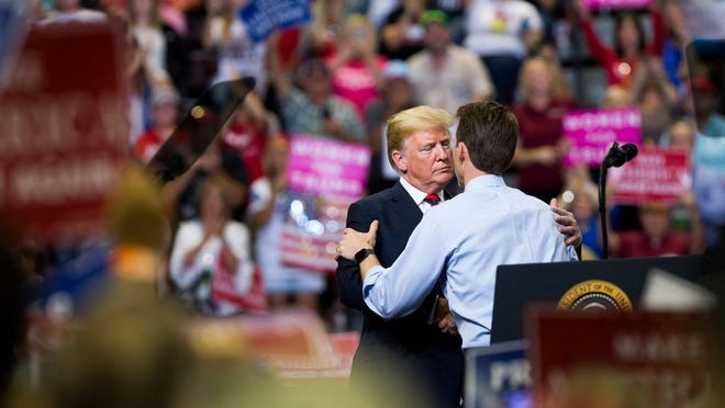 Josh Hawley at a rally with President Donald Trump at JQH Arena in Springfield on Friday, Sept. 21, 2018