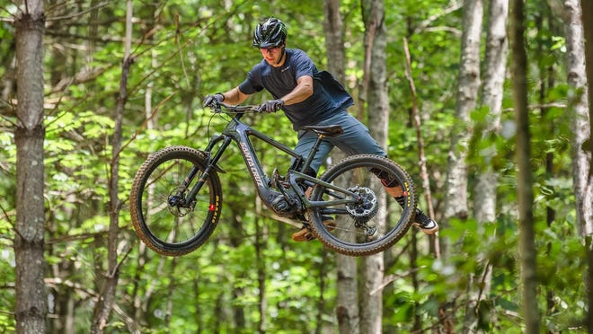 Hendersonville's Luca Shaw performs a jump at a past practice run at Ride Kanuga.