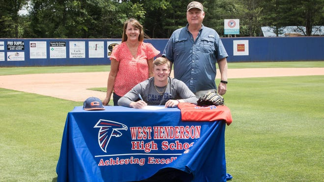 Recent West Henderson graduate Kyle Gaither signed to play baseball for Caldwell Community College next season.