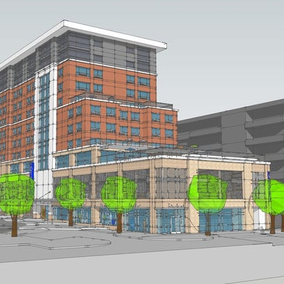 A rendering of the Cambria Hotel coming to downtown