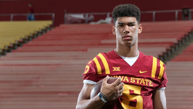 Iowa State true freshman Allen Lazard poses for a picture at the Iowa State football media day on Sunday, Aug. 10, 2014, at Jack Trice Stadium in Ames, Iowa.