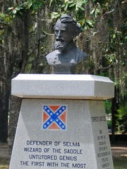 A monument honoring Confederate Gen. Nathan Bedford Forrest in Selma.