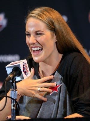 Four-time Olympic gold medalist Missy Franklin answers a reporters question during a news conference at the U.S. Olympic team swimming trials in Omaha, Nebraska on Saturday, June 25, 2016.