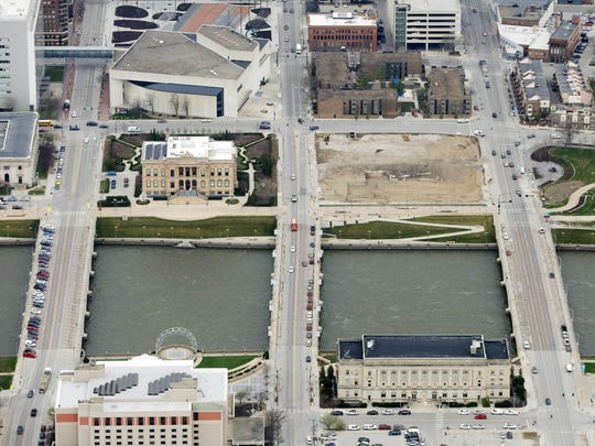 An aerial view of the former Riverfront YMCA site in downtown Des Moines.