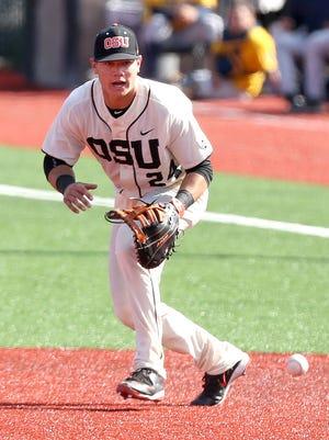 Oregon State first baseman KJ Harrison was the Pac-12 freshman of the year last season.