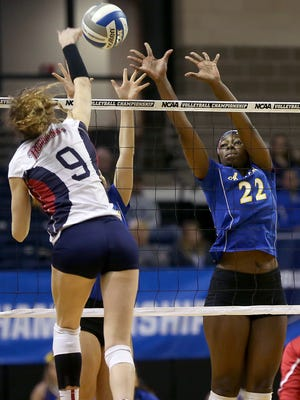 Angelo State's Tulani Titley defends the net against Metro State in the NCAA South Central Regional Championship on Saturday.
