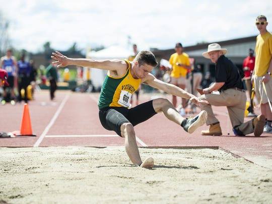 Vermont's Ian Weider competes in the long jump during the America East outdoor Track Field Championships at the Frank H. Livak Facility on the campus of the University of Vermont on Saturday May 7, 2016 in Burlington.