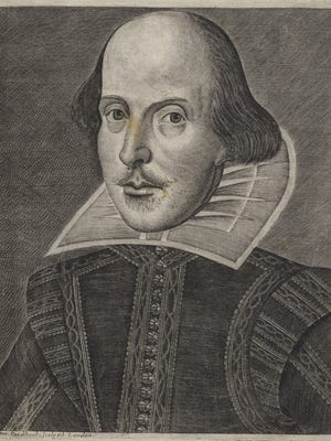 """The image from the title page of the first folio called the """"Droeshout portrait"""" because it was made by Martin Droeshout. It was approved by Shakespeare's friends and thought to be the most accurate portrait of the Bard."""