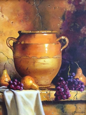 A painting by Sharon Gillenwater. Her work is currently on display at the Emporium Center.