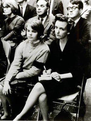 Mary Beth Tinker attends a Des Moines school board meeting with her mother in early 1966.
