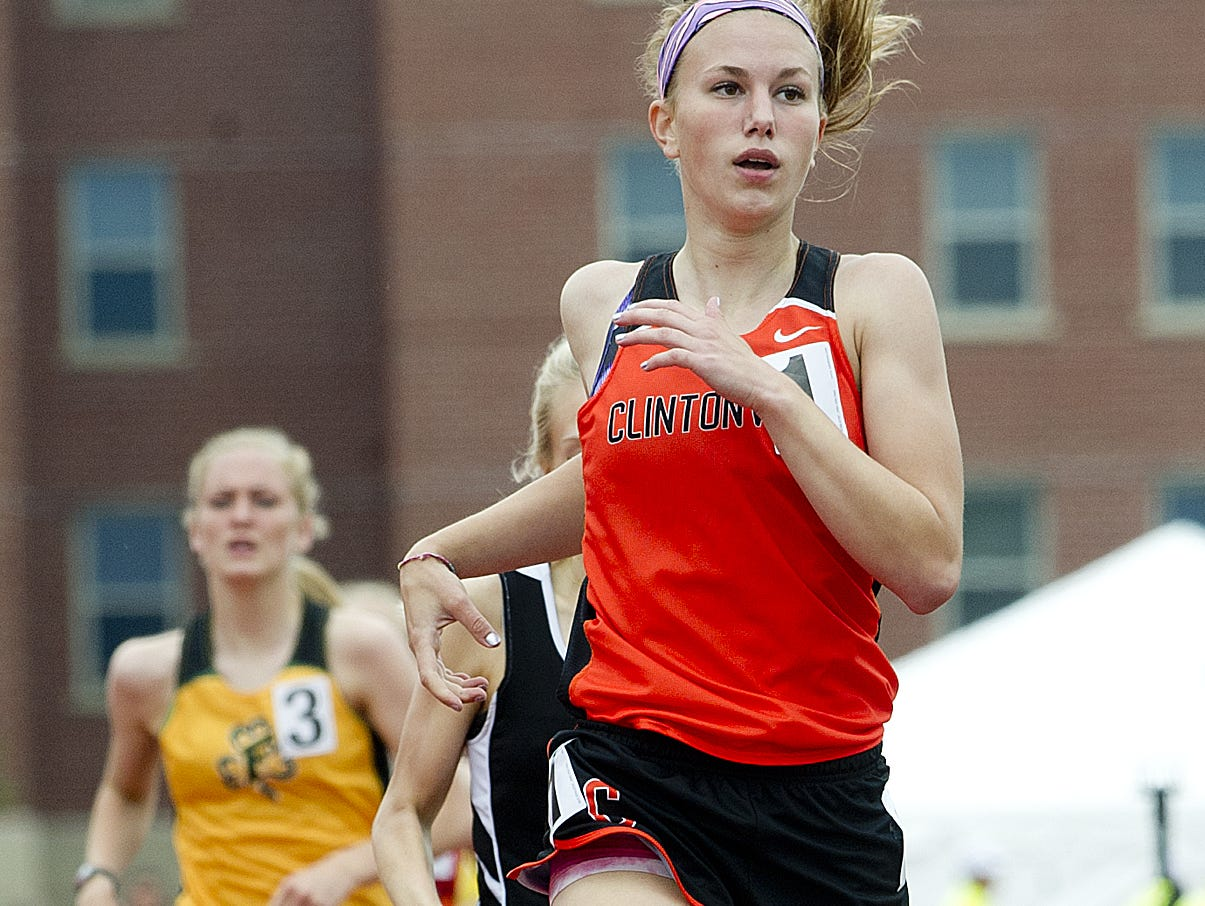 Clintonville's Allison Johnson competes in the 800 meter run at the WIAA State Track and Field Meet Division 2 competition at University of Wisconsin-La Crosse, Friday, June 5, 2015. Johnson took first place.