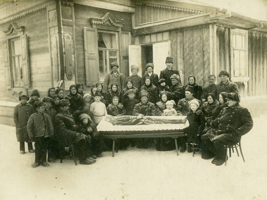 The funeral of Albert Freund in Basel, Russia. The Freunds emigrated to Sheboygan. Photos like this were taken to be sent to those in America who could not attend the funeral.