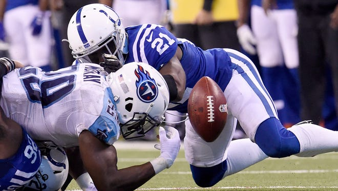 Titans running back DeMarco Murray (29) loses the ball on 4th-and-1 turning the ball over to the Colts late in the fourth quarter of the 24-17 loss at Lucas Oil Stadium Sunday, Nov. 20, 2016, in Indianapolis, Ind.