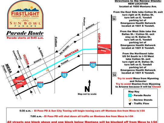 Sun Bowl Thanksgiving Day Parade map