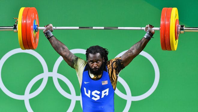 Kendrick Farris (USA) during the men's weightlifting 94kg competition in the Rio 2016 Summer Olympic Games at Riocentro - Pavilion 2.